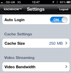 Change the Knowhow Cloud settings on Apple app
