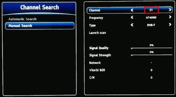 Sagemcom RTI95 channel search for missing Freeview channels