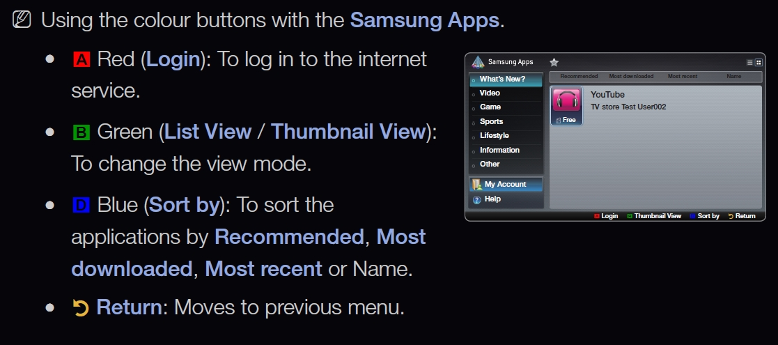 Samsung Smart TV manual apps
