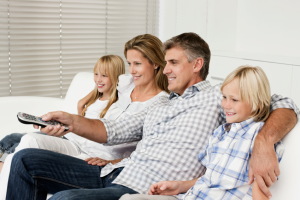 family watching tv freeview